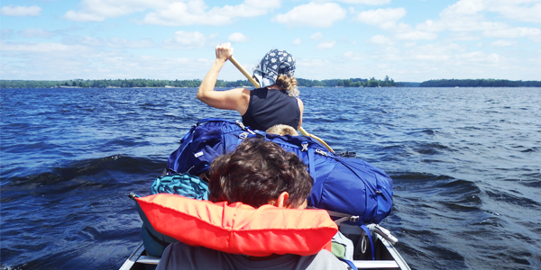 Paddling to our campsite in Voyageurs National Park