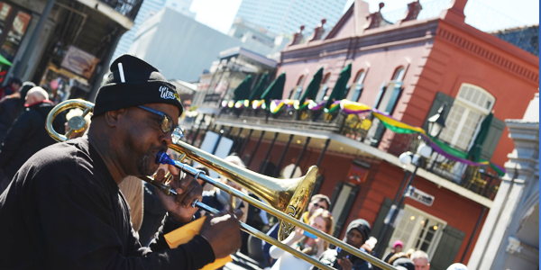 One of the many jazz street musicians that make New Orleans unique