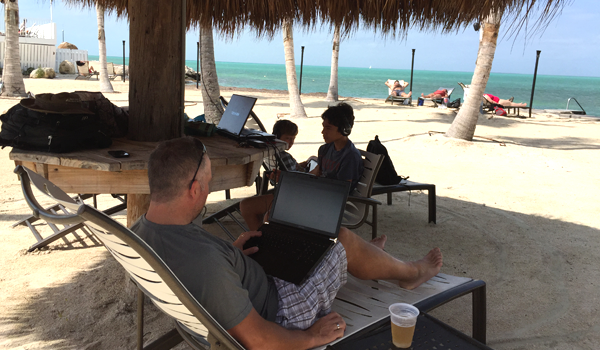 The Tiki bar became the office and the classroom because of the good wifi. Really.